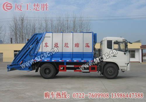 东风天锦压缩式垃圾车侧面图片